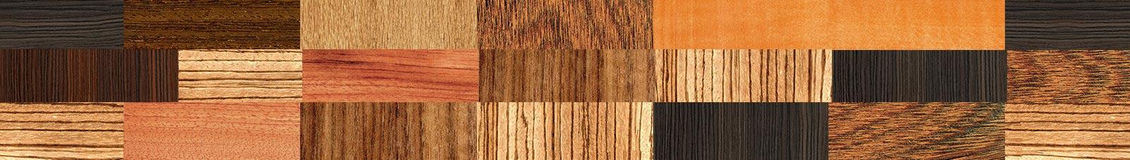 Ansicht verschiedener Holzarten, die Scherler Holzbrillen.com für die Herstellung der handgearbeiteten Holzbrillen verwendet.